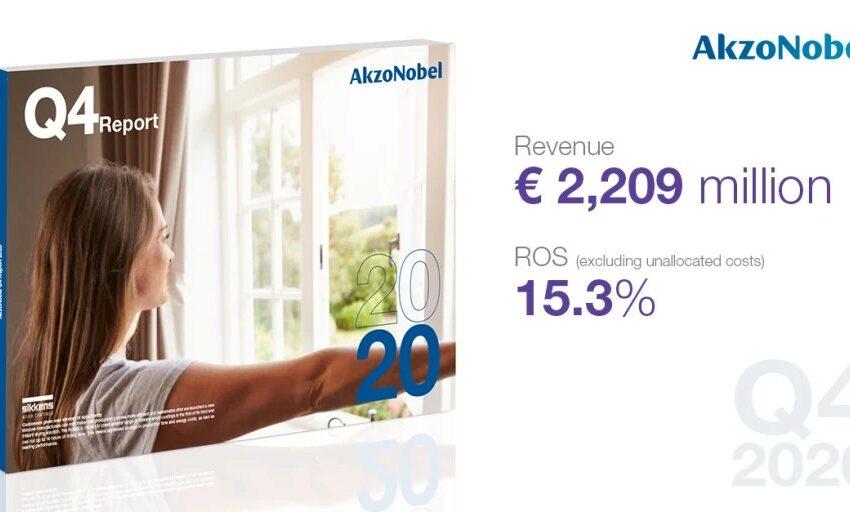AkzoNobel выполняет своё обязательство 15 % ROS к 2020г. и сохраняет устойчивую динамику в 4-ом квартале при росте выручки на 6% в сопоставимых валютах